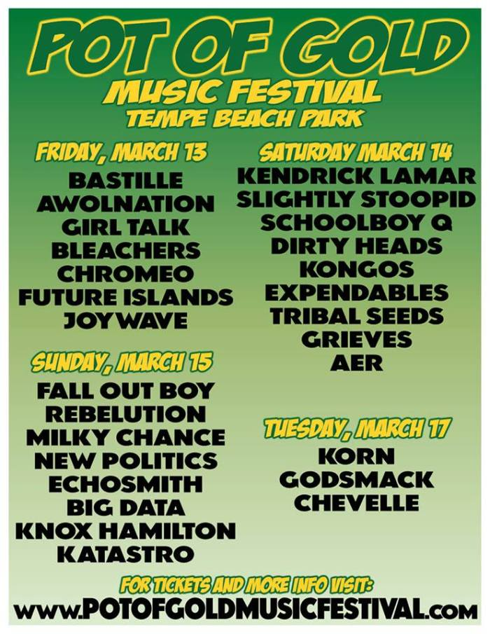 Pot of Gold Music Festival lineup